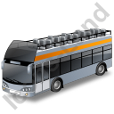 Double Decker Bus Open Top Grey Icon, PNG/ICO, 128x128