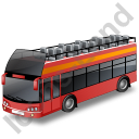 Double Decker Bus Open Top Red Icon, PNG/ICO, 128x128