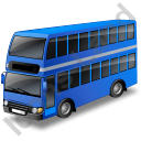 Double Decker Bus Blue Icon, PNG/ICO, 128x128