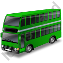 Double Decker Bus Green Icon
