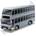 Double Decker Bus Grey Icon