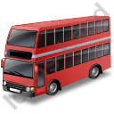 Double Decker Bus Red Icon, PNG/ICO, 128x128