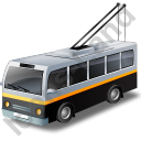 Trolleybus Black Icon, PNG/ICO, 128x128