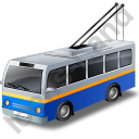 Trolleybus Blue Icon, PNG/ICO, 128x128