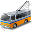 Trolleybus Yellow Icon, PNG/ICO, 128x128