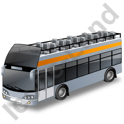 Double Decker Bus Open Top Grey Icon, PNG/ICO, 256x256