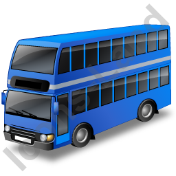 Double Decker Bus Blue Icon, PNG/ICO, 256x256
