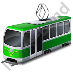 Tram Green Icon, PNG/ICO, 256x256