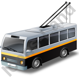 Trolleybus Black Icon, PNG/ICO, 256x256