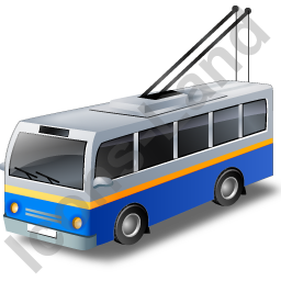 Trolleybus Blue Icon, PNG/ICO, 256x256