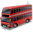Double Decker Bus Red Icon, PNG/ICO, 48x48