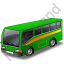Commuter Bus Green Icon, PNG/ICO, 64x64