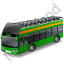 Double Decker Bus Open Top Green Icon