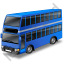 Double Decker Bus Blue Icon, PNG/ICO, 64x64