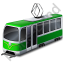 Tram Green Icon, PNG/ICO, 64x64