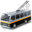 Trolleybus Black Icon, PNG/ICO, 64x64