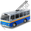 Trolleybus Blue Icon, PNG/ICO, 64x64