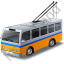 Trolleybus Yellow Icon, PNG/ICO, 64x64