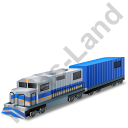 Diesel Locomotive Boxcar Blue Icon, PNG/ICO, 128x128