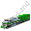 Diesel Locomotive Boxcar Green Icon, PNG/ICO, 128x128