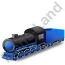 Steam Locomotive Tender Blue Icon, PNG/ICO, 128x128