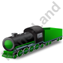 Steam Locomotive Tender Green Icon, PNG/ICO, 128x128
