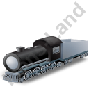 Steam Locomotive Tender Grey Icon, PNG/ICO, 128x128