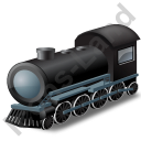 Steam Locomotive Black Icon, PNG/ICO, 128x128