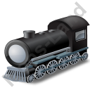 Steam Locomotive Grey Icon, PNG/ICO, 128x128
