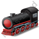 Steam Locomotive Red Icon, PNG/ICO, 128x128