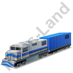 Diesel Locomotive Boxcar Blue Icon, PNG/ICO, 256x256