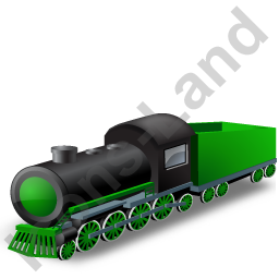 Steam Locomotive Tender Green Icon, PNG/ICO, 256x256