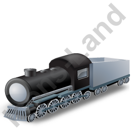 Steam Locomotive Tender Grey Icon, PNG/ICO, 256x256