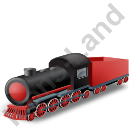 Steam Locomotive Tender Red Icon, PNG/ICO, 256x256
