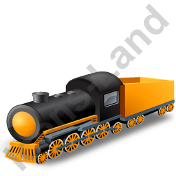 Steam Locomotive Tender Yellow Icon, PNG/ICO, 256x256