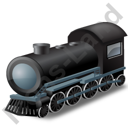 Steam Locomotive Black Icon, PNG/ICO, 256x256