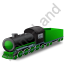 Steam Locomotive Tender Green Icon, PNG/ICO, 64x64