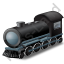 Steam Locomotive Black Icon, PNG/ICO, 64x64