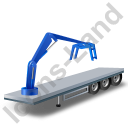 Flatbed Trailer Loader Crane Head Blue Icon
