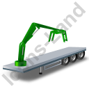 Flatbed Trailer Loader Crane Head Green Icon