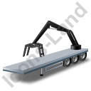 Flatbed Trailer Loader Crane Rear Black Icon, PNG/ICO, 128x128