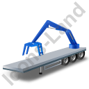 Flatbed Trailer Loader Crane Rear Blue Icon