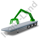 Flatbed Trailer Loader Crane Rear Green Icon