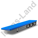 Flatbed Trailer Blue Icon, PNG/ICO, 128x128