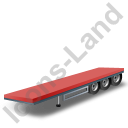 Flatbed Trailer Red Icon, PNG/ICO, 128x128