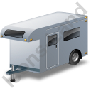 Travel Trailer Grey Icon, PNG/ICO, 128x128
