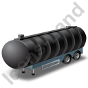 Waste Tanker Trailer Black Icon, PNG/ICO, 128x128