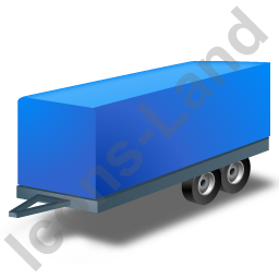 Car Trailer Blue Icon, PNG/ICO, 256x256