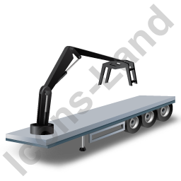 Flatbed Trailer Loader Crane Head Black Icon, PNG/ICO, 256x256
