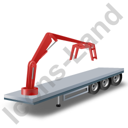 Flatbed Trailer Loader Crane Head Red Icon
